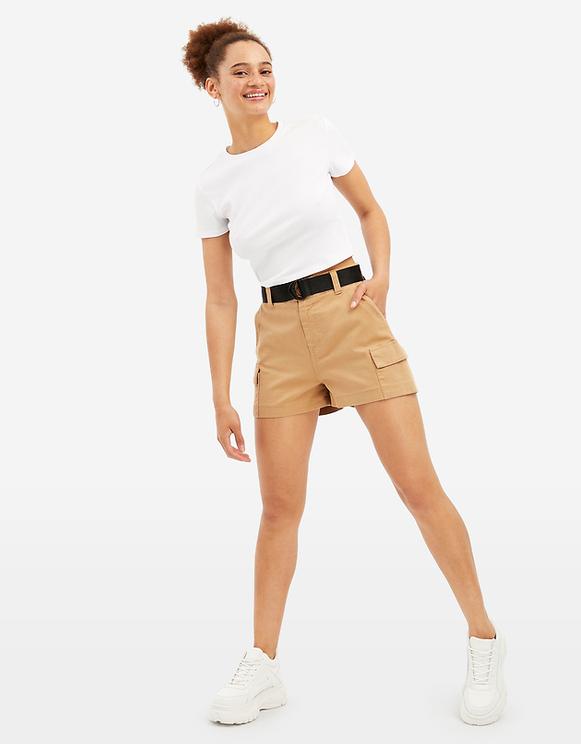 Beige Cargo Shorts
