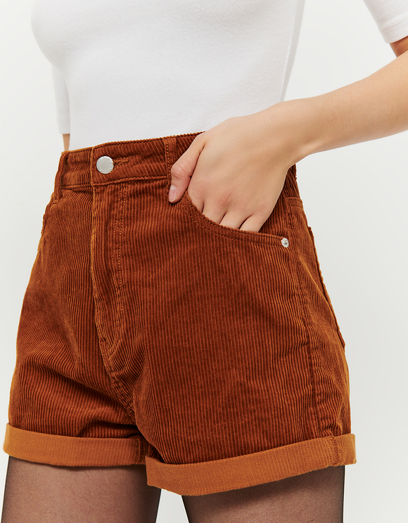 Camel Corduroy Mom Shorts