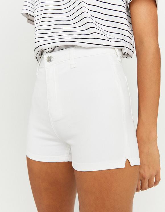 Weiße High Waist Skinny Denim Shorts