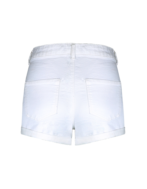 Weiße High Waist Skinny Denim Shorts