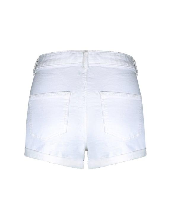 Short en Jean Skinny Blanc Taille Haute