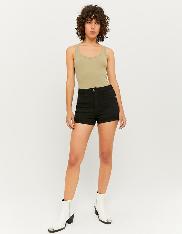 Short Skinny Push-Up Noir Taille Haute
