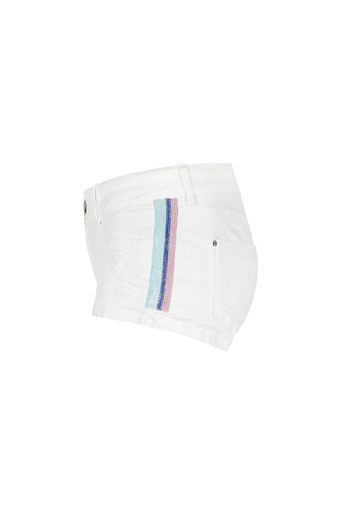 White Side Stripe Shorts