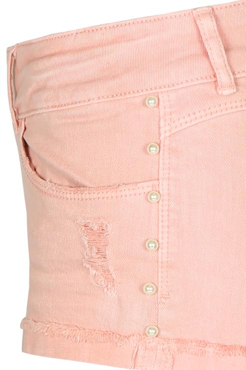 Rosa Jeansshorts mit Perlen