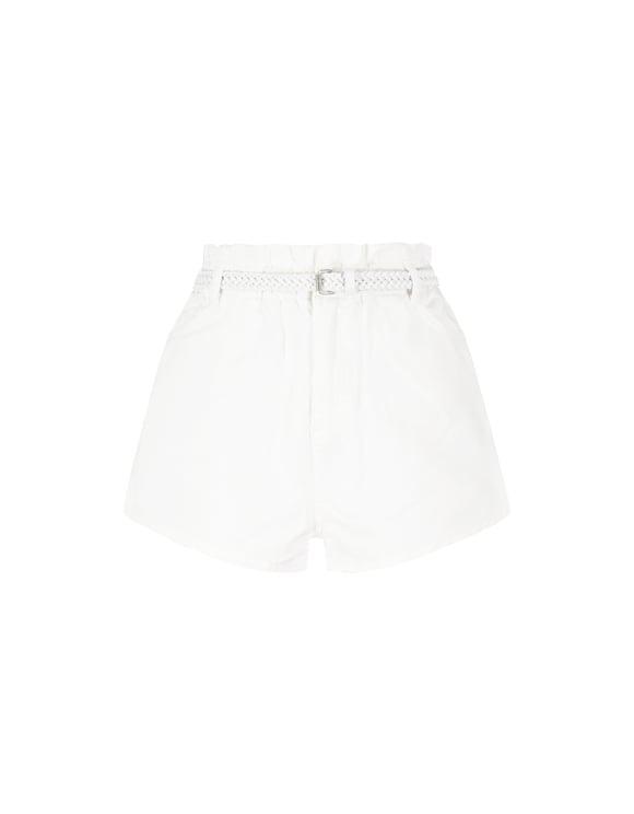 Białe jeansowe szorty PAPERBAG