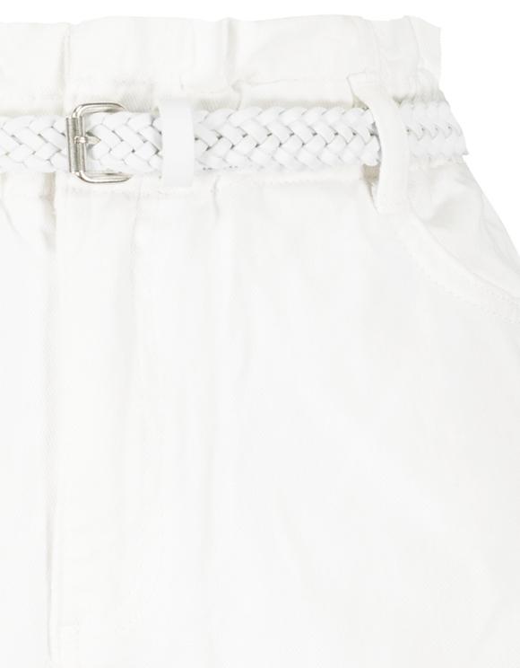 Weiße Denim Paperbag Shorts