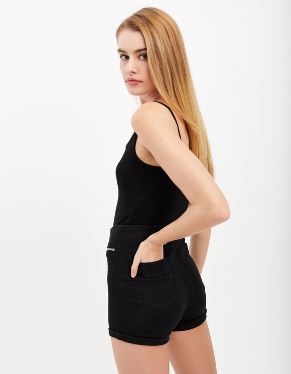 Black Zip Shorts