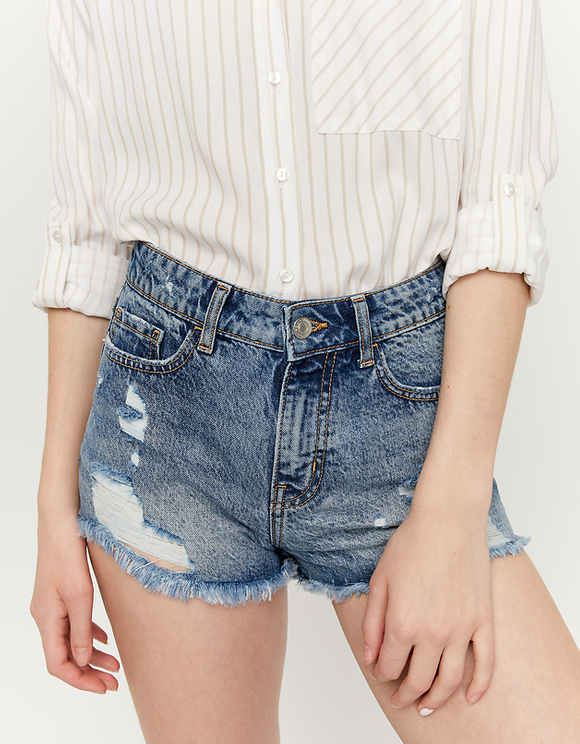 High Waist Ripped Shorts