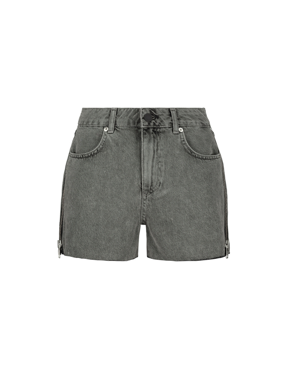 Grey Denim Shorts with Zip