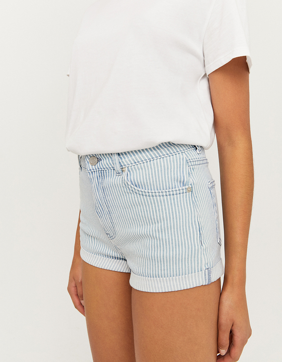 Striped Denim Shorts
