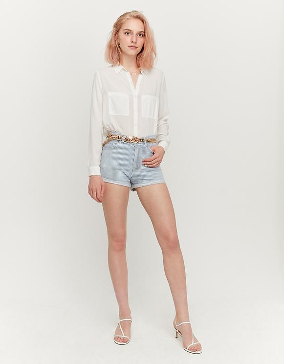 Gestreifte Denim Shorts