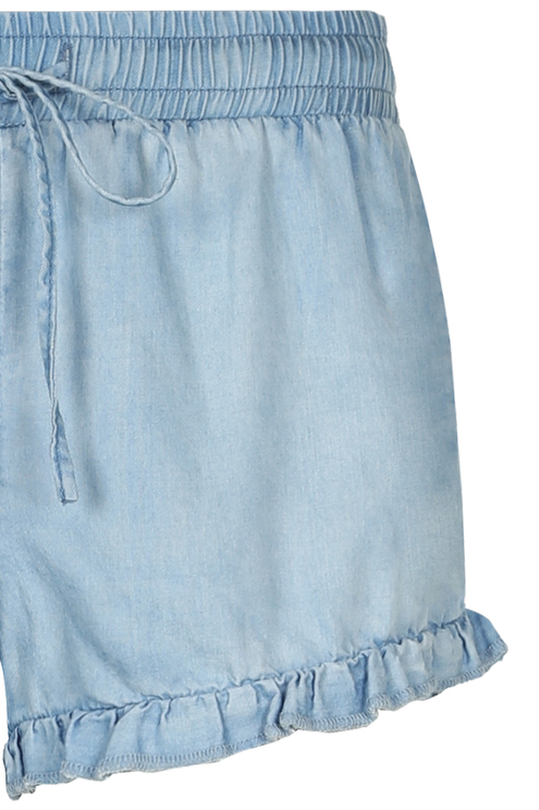 Denim Ruffled Shorts