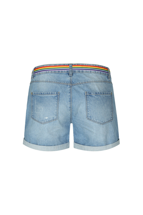 Denim Shorts with Pride Belt