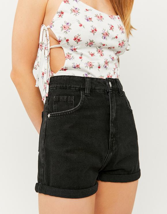 Black High Waist Mom Denim Shorts