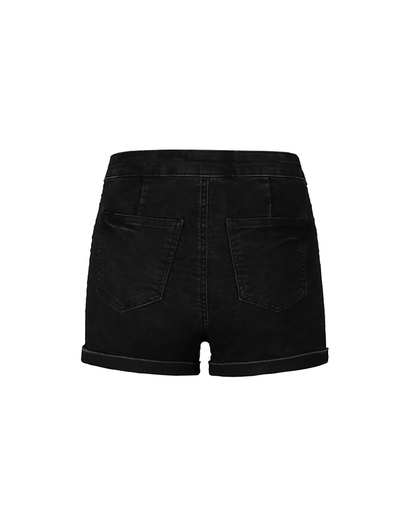 High Waist Denim Shorts with Buttons