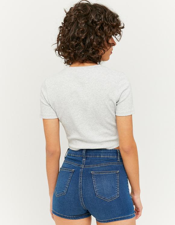 Short en Jean Skinny Taille Haute