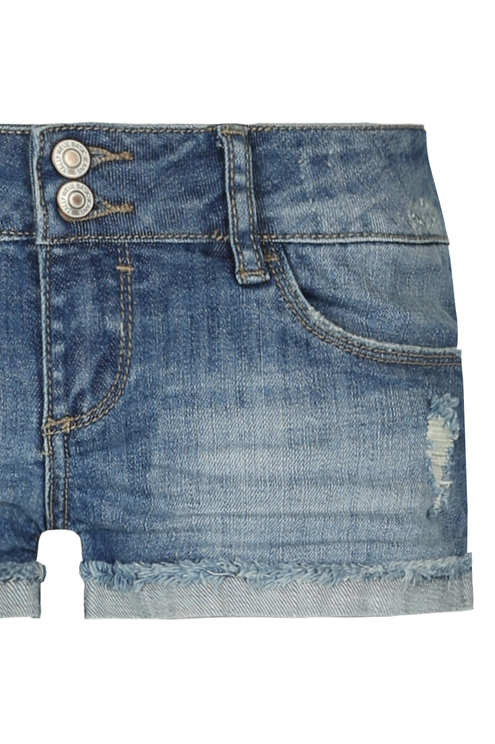 Hellblauverwaschene Denim Shorts