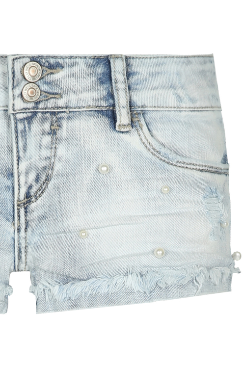 Denim Shorts with Pearls