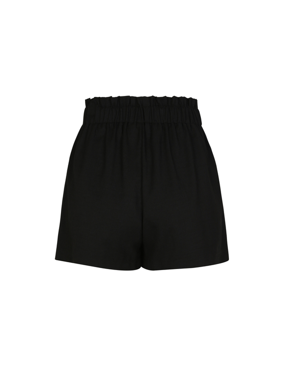 Schwarze Leinen-Shorts
