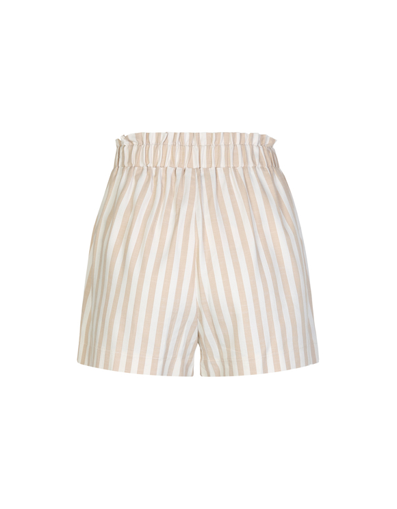 Beige Striped Linen Shorts