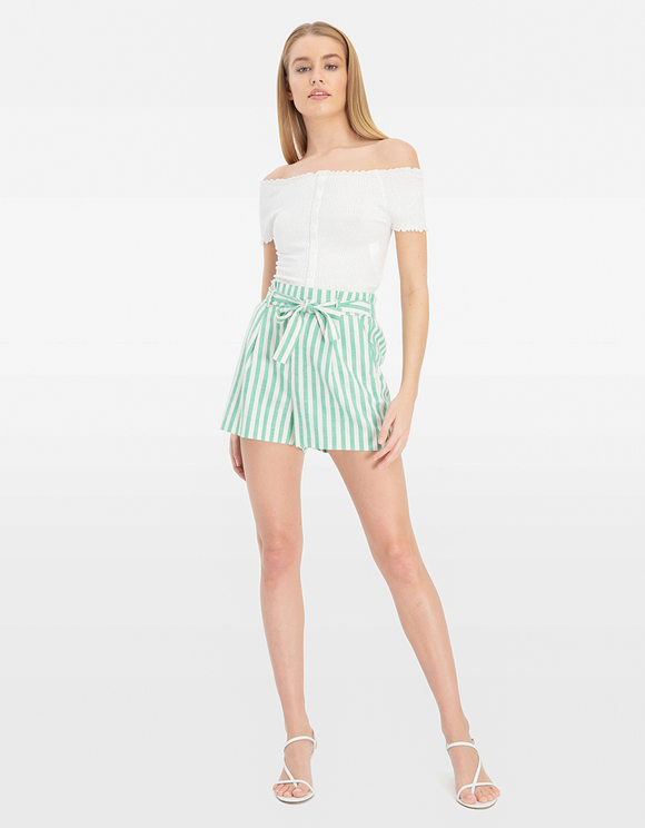 Green Striped Shorts