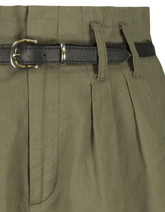 Green Linen Shorts