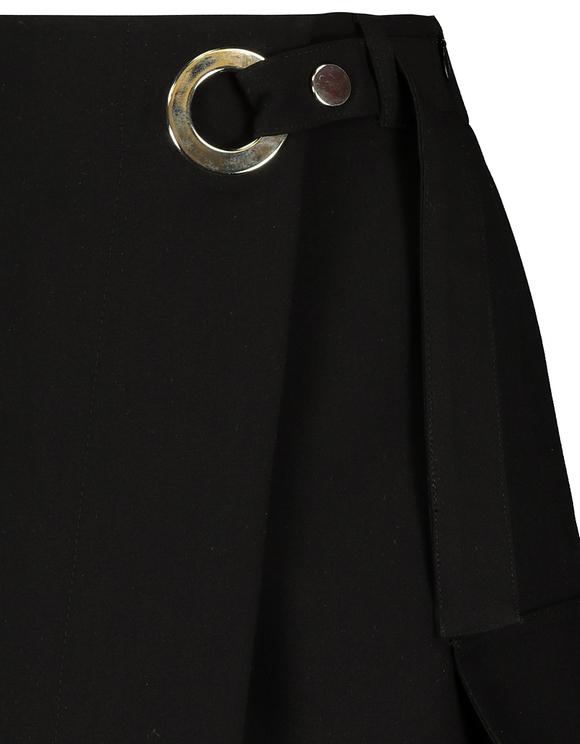 Black Front Wrap Eyelet Skort