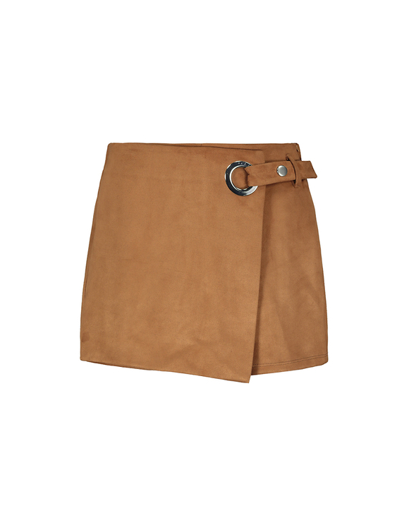 Cognac Skort with Buckle