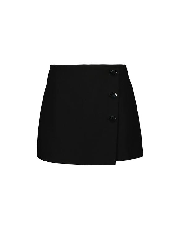 Czarne spódnico-spodnie z guzikiem po boku