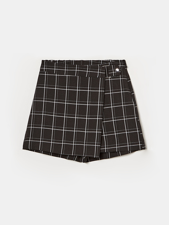 Black Checked Skort
