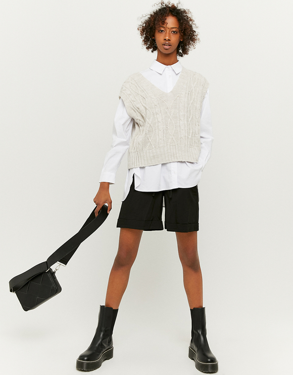 Black High Waist Bermuda Shorts