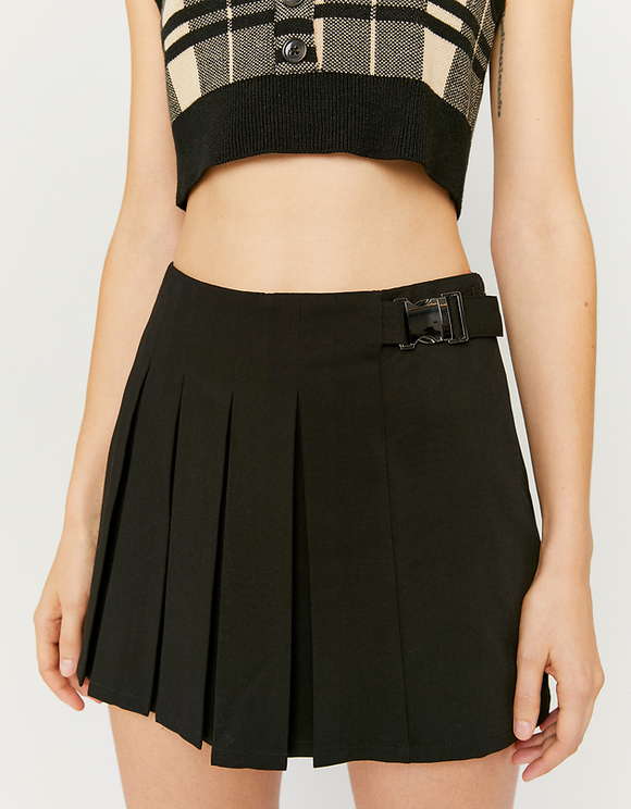 Black Buckled Skort