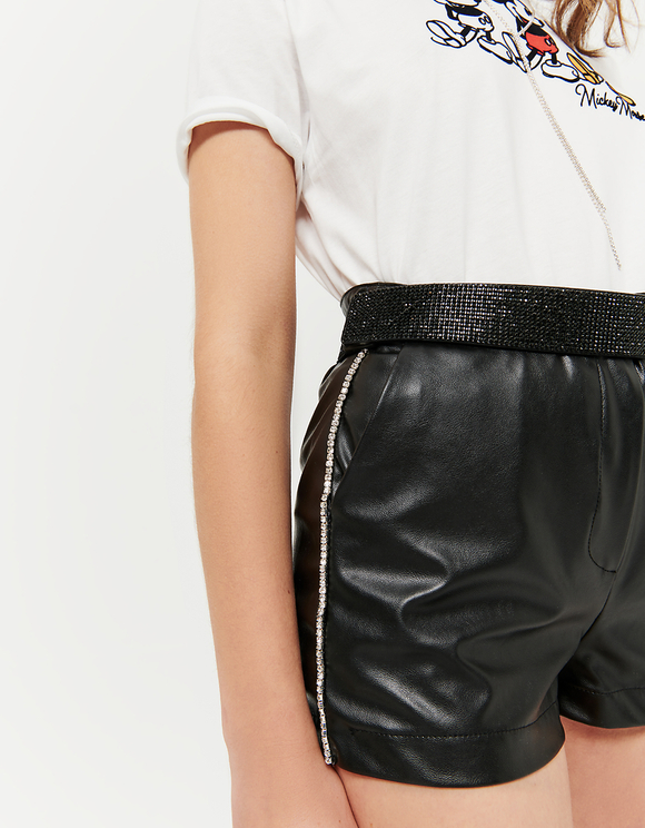 Side Strass Faux Leather Shorts