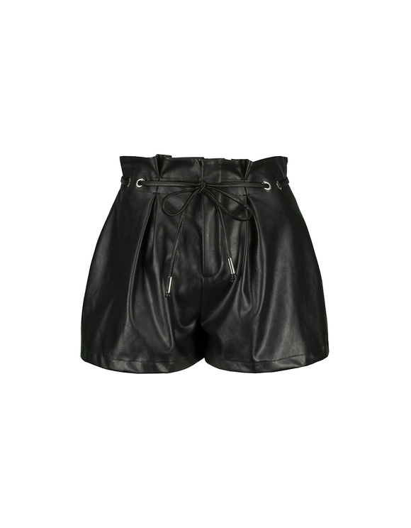 Paperbag Faux Leather Shorts