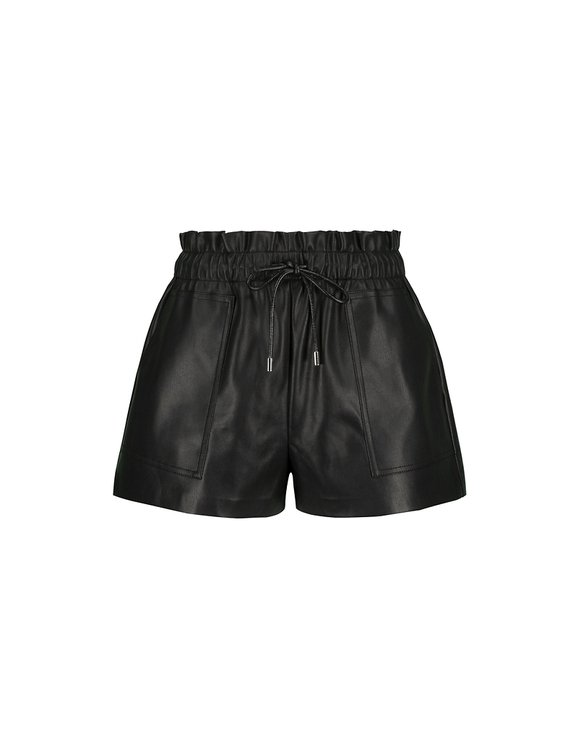 Black Faux Leather Short