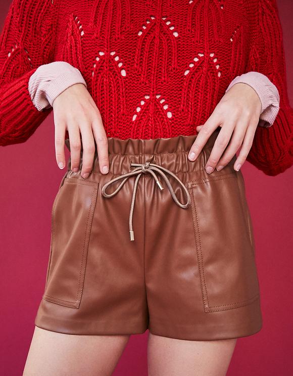Koniakowe spódnico-spodnie ze sztucznej skóry