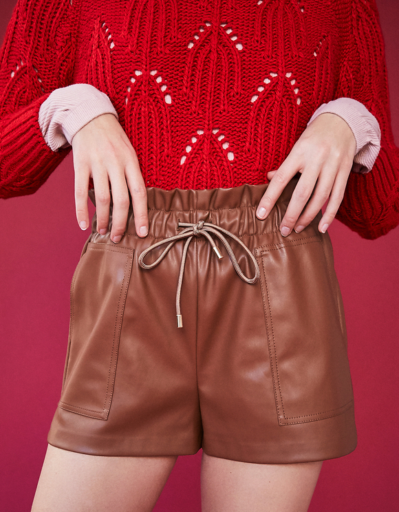 Cognac Faux Leather Short