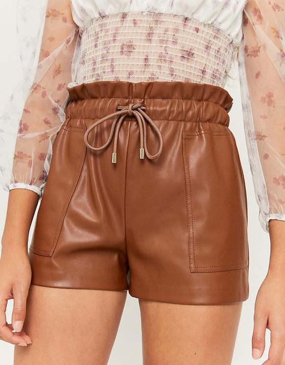 Cognac Faux Leather Short