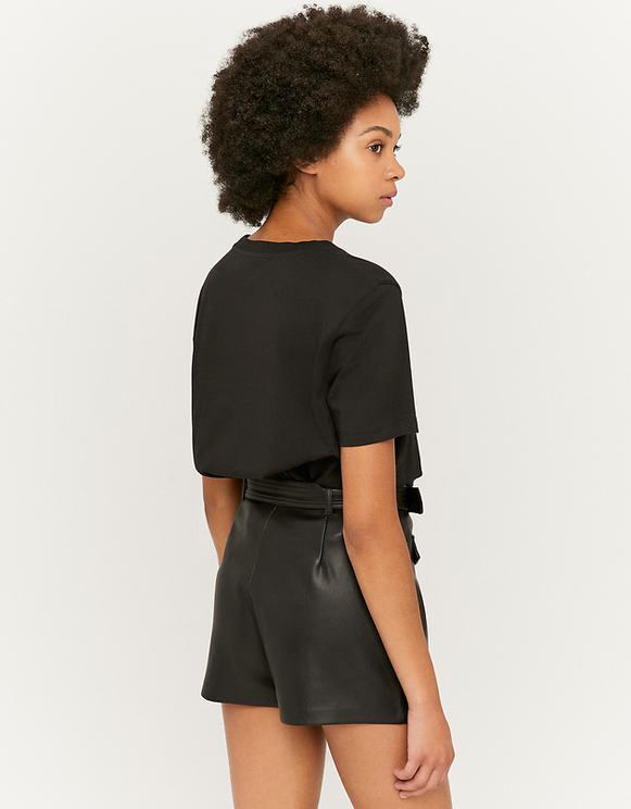 Faux Leather Shorts with Belt