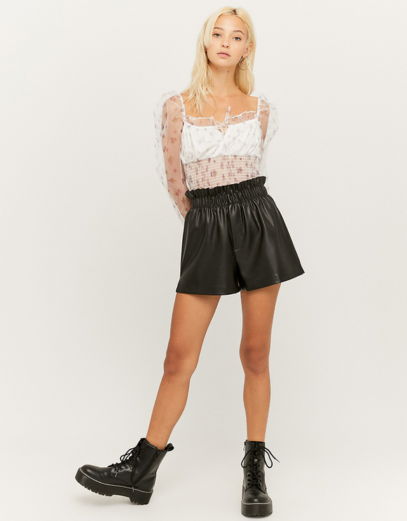 Black Faux Leather Shorts with Studs