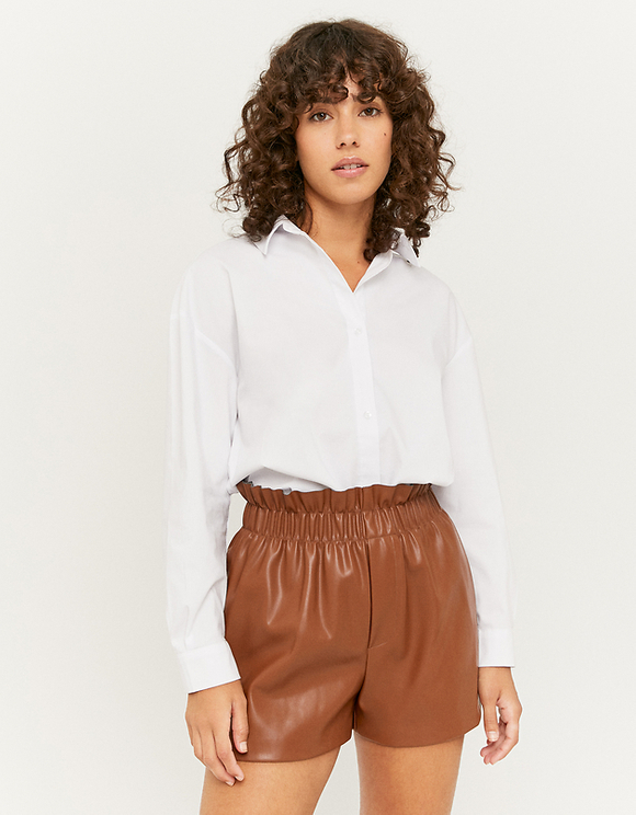 Brown High Waist Faux Leather Shorts