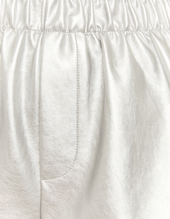 Silver Faux Leather Shorts