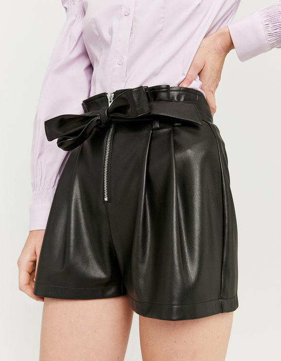 Black Faux Leather Paperbag Shorts