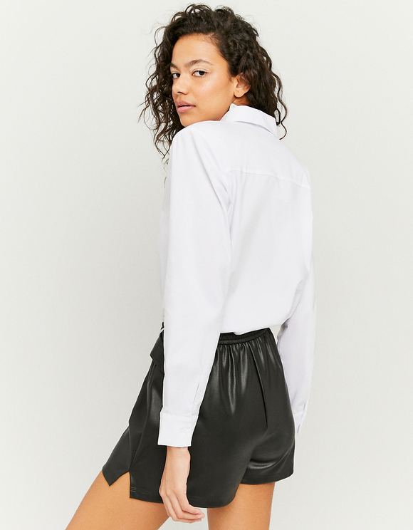 Black Faux Leather Belted Shorts