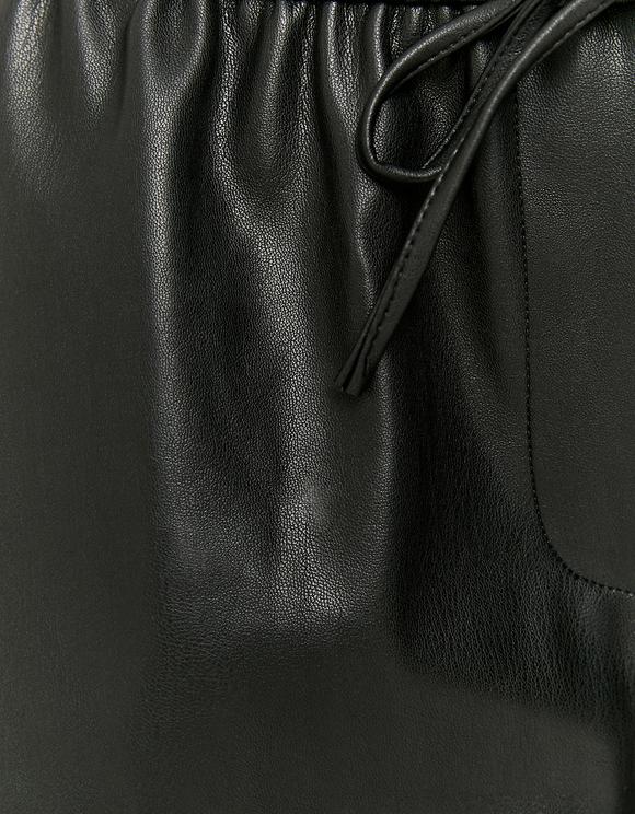 Black High Waist Faux Leather Bermuda