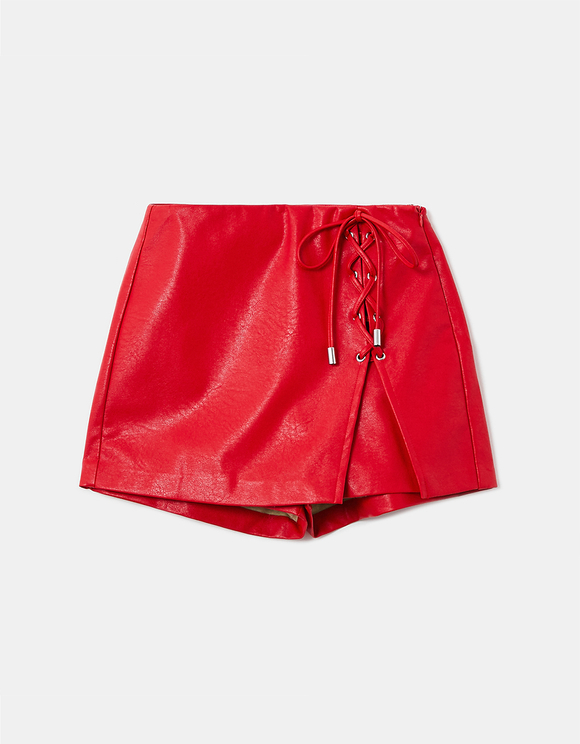 Faux Leather Lacing Detail Skort