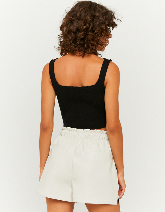 High Waist White Faux Leather Paperbag Shorts