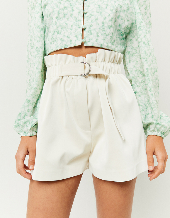 White Faux Leather Belted Paperbag Shorts