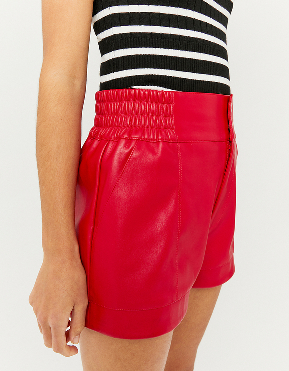 Red Faux Leather Shorts
