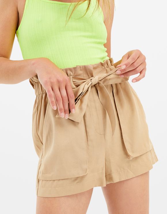 Beige Tencel Shorts